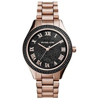 Michael Kors Women's Black Pavé Dial Rose Gold Tone Bracelet Watch MK3320