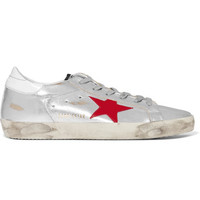 Golden Goose Deluxe Brand - Super Star distressed metallic leather sneakers
