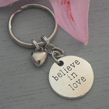 Believe In Love Inspirational  KeyChain Couples Love Key Chain Ring Sweetheart Gift Affirmation
