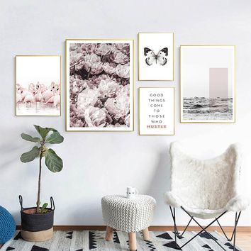 Scandinavian Style Flower Flamingo Sea Canvas Poster and Print Wall Art Painting Nordic Decoration Pictures Modern Home Decor