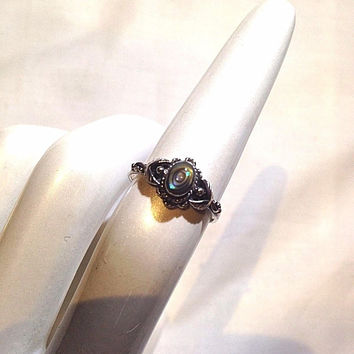Vintage Genuine Rainbow Abalone Filigree 925 Sterling Silver Size 6 Ring