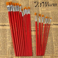 6 Or 12PCS pack Best Promotion Flat Art Brush Set Oil Painting Brush Set Blending Size Oil Acrylic Paint School Supplies