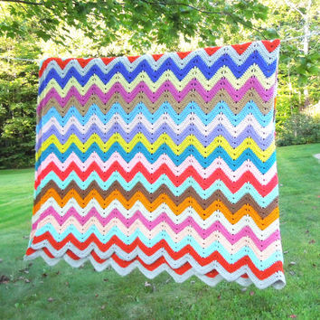"Large vintage crochet blanket bedspread bed cover in colorful zig zag or chevron pattern 114"" x 91"""
