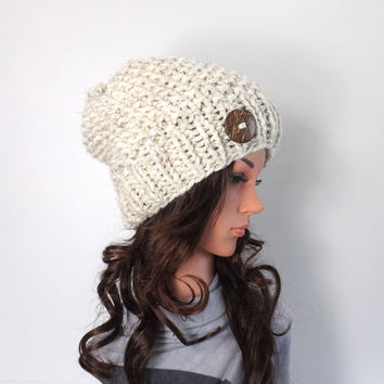Chunky Slouchy Hat  with One Natural Coconut Shell Button /WHEAT/, Knit Slouchy Hat Beanie, Buttoned Hat, Gift Idea