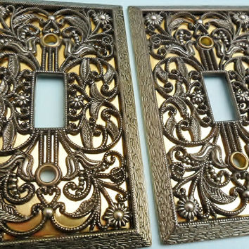 Vintage Brass Light Switch Plate Covers 2 Avail Amer Tac & Howe Co Ornate Flowers Gold Foil Insert Brass 1970s Decor Lighting Supply