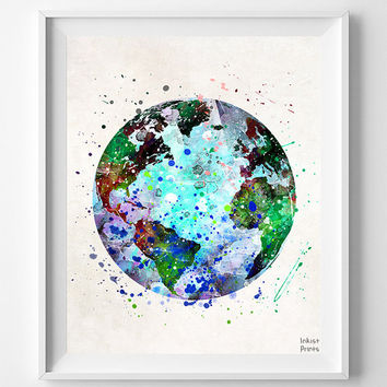 Earth Print, Earth Watercolor, Earth Painting, Globe Poster, Globe Print, Nursery, Illustration, Watercolour, Wall Art, Wall Art Prints