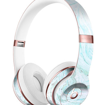 Mint to Teal Textured Marble Full-Body Skin Kit for the Beats by Dre Solo 3 Wireless Headphones