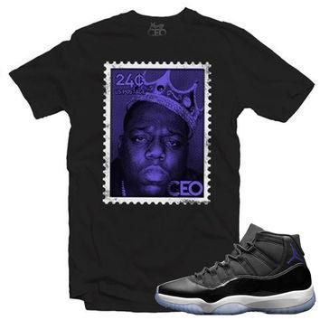 "Young Ceo - Jordan 11""Space Jam"" Biggie Small Stamp Black Tee"