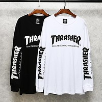 Thrasher New fashion letter print couple long sleeve sweater top