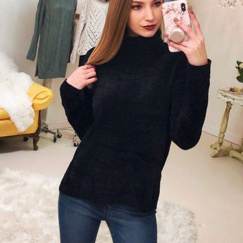 7th Street Black Chenille Sweater