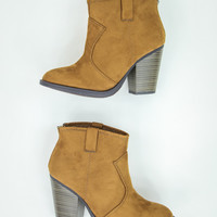 Elegant Faux Suede Booties in Hazel