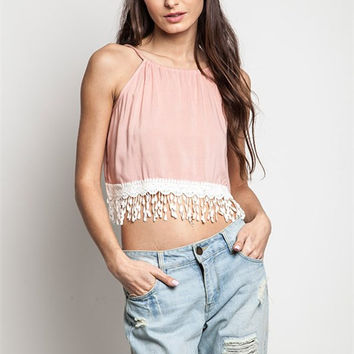 Peach Lace Trim Crop Top