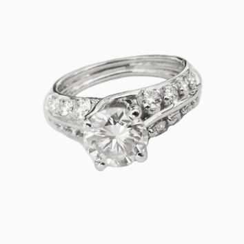 Forever one moissanite unique engagement ring with F VVS diamonds on the sides made in 18K White Gold