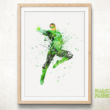 Green Lantern, Justice League - Watercolor, Art Print, Home Wall decor, Watercolor Print, Superhero Poster