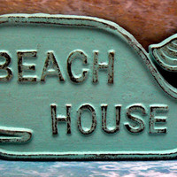 Whale Beach House Sign Cast Iron Wall Plaque Beachy Light Blue Cottage Chic Decor Nautical Beach Coastal