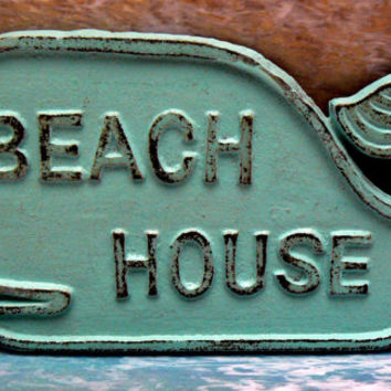 Whale Beach House Sign Cast Iron Wall Plaque Beachy Light Blue Cottage Chic Decor Nautical