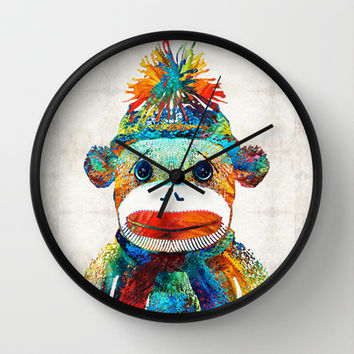 Sock Monkey Art - Your New Best Friend - By Sharon Cummings Wall Clock by Sharon Cummings