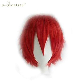 SNOILITE Women Straight Synthetic Full Head Short Wigs Cosplay Party Hair Halloween Heat Resistant Fiber wigs for black women