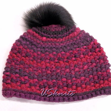 Hand knitted chunky hat with fur pompom