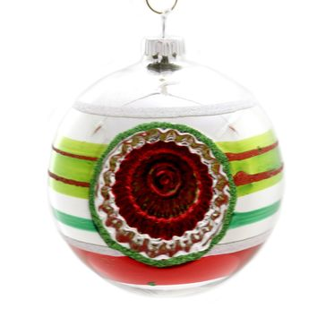 Shiny Brite HS ROUNDS W/ REFLECTORS Ornament Ball Christmas 4026900S Silver