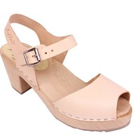 Lotta From Stockholm Classic High Heel Open Toe Clogs From Lotta in Natural Leather