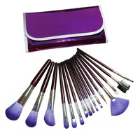 Evelots 16 Piece Cosmetic Makeup Brush Set With Metallic Purple Case