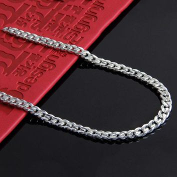100% 925 Sterling Silver Chain Necklace Men's Necklace Real Pure Silver Link Chain Necklace 6MM Wide Punk Men Jewelry CCNL024