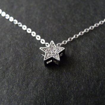 Star Sterling Silver Necklace, Little Star, Gift for Daugther, Sister Gift, Cubic Zirconia, Christmas Gift