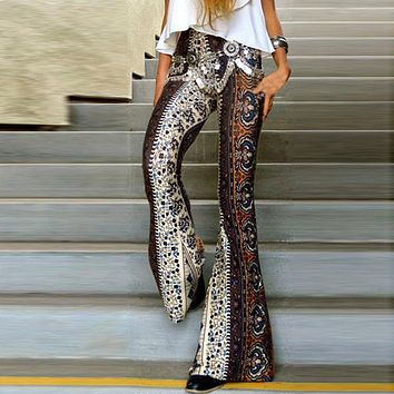 Motivated 2019 New Hot Sale Boho Vintage Pants Bell Bottom Wide Leg Pants Trousers Stretch Flare Boho Rose Printed Pants Women's Clothing