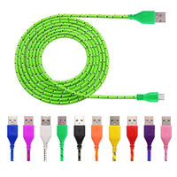 HOT 1M/2M/3M Nylon Braided Micro USB Cable, Charger USB Cable Cord For Samsung Galaxy Cell phones 9 Colors Available