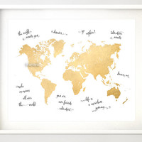 """10x8"""" 20x16"""" Printable world map, vintage faux gold foil map, nursery quote map, gold wall art, gold map, gold nursery - map034 F"""