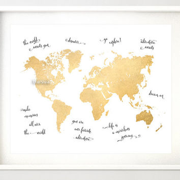 Shop gold foil world maps on wanelo 10x8 20x16 printable world map vintage faux gold foil map nu gumiabroncs
