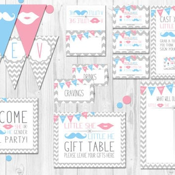 Chevron Gender Reveal Party, gender reveal games, gender reveal decorations, signs, little she, little he, reveal decorations, chevron, gray