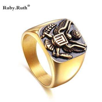 USA Fashion Gold Color Military Badges Rings For Men,Stainless Steel Eagle Totems Rings For Male,Large Ring Men Jewelry