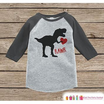 Heart Tshirt Kids Valentines Outfit - Dinosaur Valentine's Day Shirt or Onepiece - Boys Dino Valentine - Baby, Toddler, Youth - Grey Raglan