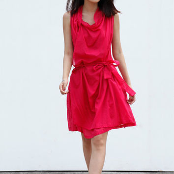 Casual Summer Dress Loose Fitting Cotton Sundress for Women in Rose Red - NC462