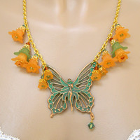 Orange Art Nouveau Fairy Necklace Green Lucite Flower Short Handmade