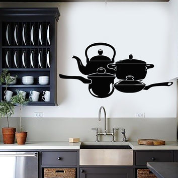 Vinyl Wall Decal Cookware Kitchen Decoration Cook Chef Stickers Unique Gift (ig4360)