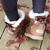 """""""UGG"""" Women male Fashion Wool Snow Boots A bowknot (4-color) I"""
