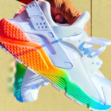 Nike Huarache Rainbow Soles custom new for 2016!