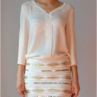 Trendy Clothing, Fashion Shoes, Women Accessories   Stud Accent Blouse in Cream    LoveShoppingMiami.com