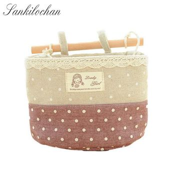 Wall Sundry Lace Fabric Cotton Pocket Hanging Holder waterproof Storage Bag Rack makeup Cosmetic organizer storage basket box