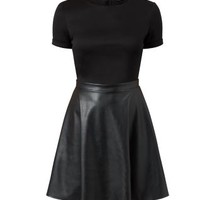 Black Leather-Look Contrast Skater Dress