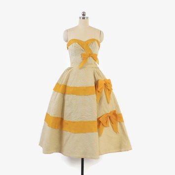 Vintage 50s DRESS SET / 1950s Strapless Cotton Full Skirt Dress with Big Gold Bows XS