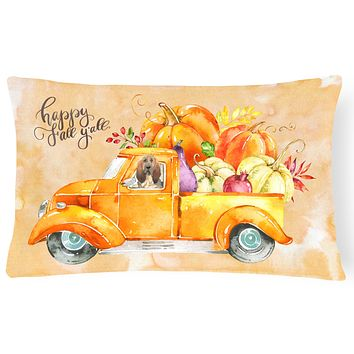 Fall Harvest Bloodhound Canvas Fabric Decorative Pillow CK2609PW1216