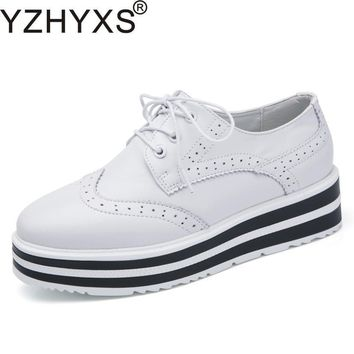 Fashion Women Shoes For Spring Autumn Korean Brogue %100 Genuine Leather Flats Platfor