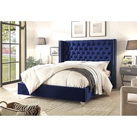 Aiden Navy Velvet Queen Bed