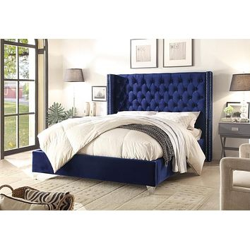 Aiden Navy Velvet King Bed