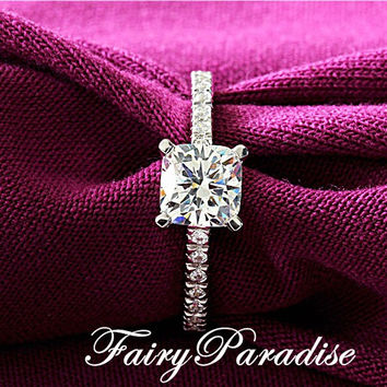Art Deco 1 Ct Cushion Cut (6 mm) man made Diamond Pave Band Tiffany Inspired Solitaire Engagement Wedding Ring  ( FairyParadise )