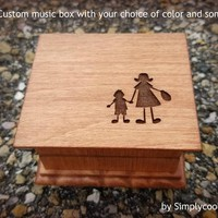 music box, wooden music box, custom engraved music box, mom, gift for mom, mother and son, mothers day gift, family gift, Mom Christmas gift